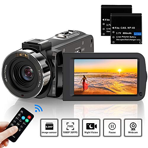 Video Camera Camcorder Full HD 1080P 36MP 30FPS Digital YouTube Vlogging Camera Video Recorder with Night Vision 30 Inch 270 Degree Rotation IPS Screen 16X Zoom Remote Control 2 Batteries