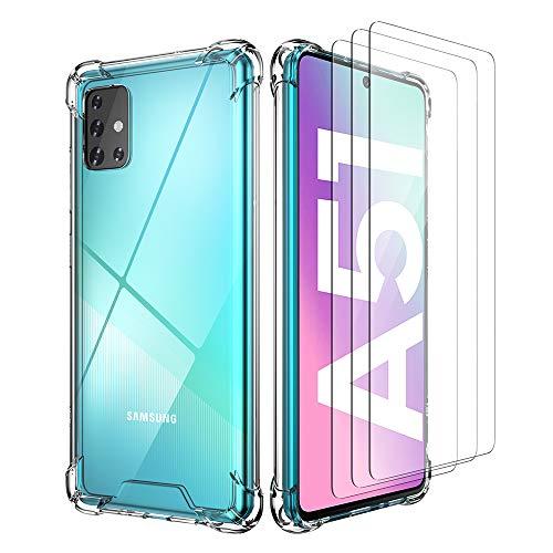 All Do Cover per Samsung Galaxy A51, [3 * Proteggi Schermo in Vetro Temperato] Paraurti Flessibile Trasparente per PC Rigido con Custodia a Cuscino d'Aria Antiurto - Trasparente