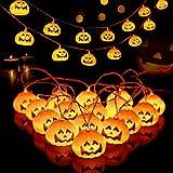 Cadena de la linterna de calabaza de Halloween, alimentado con baterías, 2 modos de luz, Utilizada para la Fiesta de Halloween, Vacaciones, Decoración de Interiores y Exteriores, 3 M 20 leds