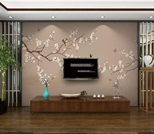 HONGYUANZHANG Einfache Mode Blumen Und Vögel Custom 3D Photo Wallpaper Künstlerische Landschaft Tv Hintergrundbild,140Inch (H) X 172Inch (W)