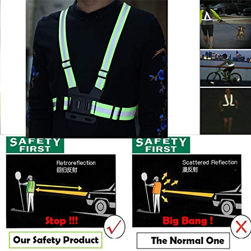 Supkeyer Cellphone Selfie Reflective Vest Chest Strap Mount Harness for Sony Action Cam/Gopro Hero/Cell Phone/iPhone 11 XR XS Max X 8 7 6 Plus/Samsung LG Huawei for Outdoor Sports,Running