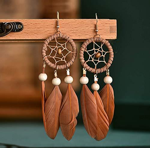 Atrapasueños creativos Pendientes largos de plumas Pendiente de borla Joyería A