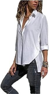 Women Button Down Shirt Casual Long Sleeve Side Slit Shirt T-Shirt