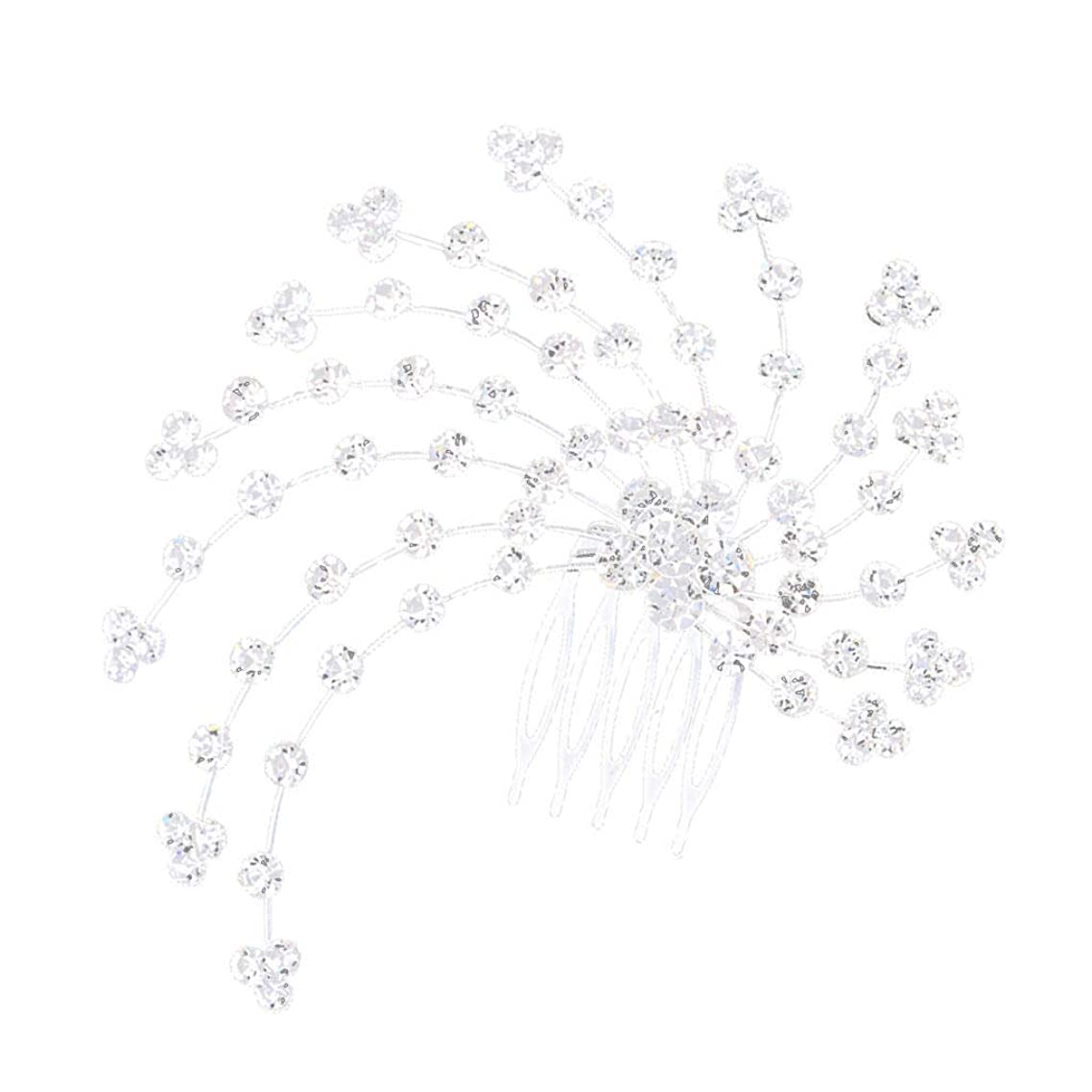 Crystal Hairpin Clips Hair Combs Bridesmaid Bride Hair Jewelry Silver 12cm