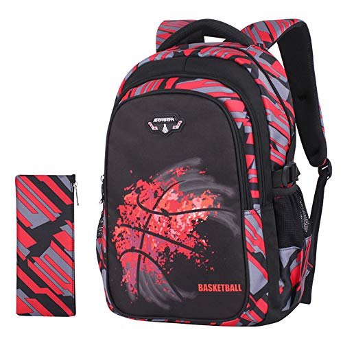 XWWS Cool Basketball Printing Backpack - Large Capacity Lightweight School Bags for Kids, Best Gifts (Red)