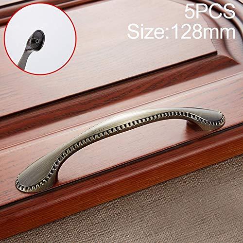 Liujingxue Möbelgriff Schrankgriffe Schubladengriffe, 5 PCS 6009-128 Cyan Alte Schubladenschrank Tür im Europäischen Stil Retro Kupfer Griff, Modernen Möbelgriffe