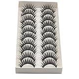 Elaco Black Eye Lashes, 10 Pairs Thick Long Cross Party False Eyelashes Black Band Eye Lashes (H) (10Pair)