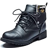 DailyShoes Boots Credit Card Pocket Ankle Pocket Boot Combat Booties Lace Up Biker Boots Casual Sole Autumn Army Buckle Shoes Heels Money Wallet Tina-99 Black Pu 10