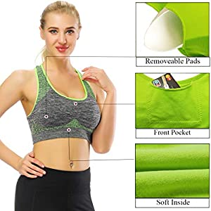 TOBWIZU Racerback Sports Bra - Choose Color & Size - Padded Seamless Women Pocket Yoga Workout Gym Bras