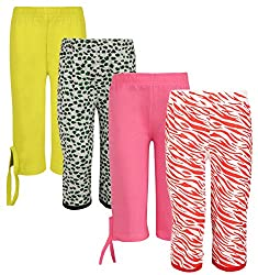 Sini Mini Girls Cotton Capri (Multicolour, 13-14 Years) - Pack of 4