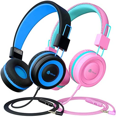 [2 Pack] iClever Kids Headphones with Microphone, Safe Volume Limited 85dB/94dB -Sharing Splitter- Wired Headphones for Kids Boys Girls, Foldable Headphones for Online School/Travel/iPad, Black&Pink