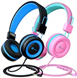[2 Pack] iClever Kids Headphones with Microphone - Safe Volume Limited 85dB/94dB, On-Ear Wired Headphones for Kids Boys Girls, Adjustable Foldable Headphones for Online School/Travel/iPad, Black&Pink
