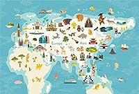 HD 7x5ftビニール子供の装飾写真の背景漫画の世界の動物の子供3Dマップの背景アフリカアメリカペンギン大西洋動物オーストラリアパンダ装飾新生児ポートレートスタジオプロップ