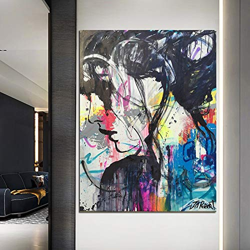 Geiqianjiumai Graffiti Frau Porträt Leinwand Malerei auf Moderne Wand Kunstdruck Wohnzimmer Poster Kunst rahmenlose Malerei 40x60cm