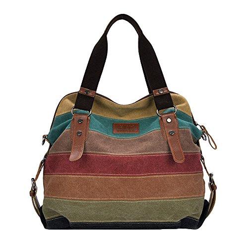Romacci Retro Damen Leinwand Handtasche Farbe Block Gestreifte Schultertasche Umhängetasche