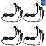 MaximalPower Clear Coil Tube Earbud Headset PTT Mic (4 Pack) w/Kevlar HYTERA 2-Pin Plug with Screw