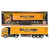 1:48 modelo de juguete de camión contenedor de aleación de simulación, niños niños Diecast Express Carrier camión coche vehículo decoración del hogar regalo(Amarillo)