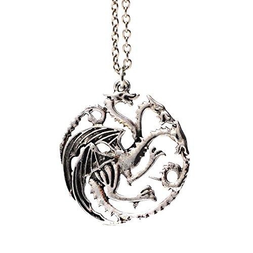 3 bastoncillos de cabezal Dragon collar con colgante de carcasa para móvil Targaryen plateado de Juego de Tronos