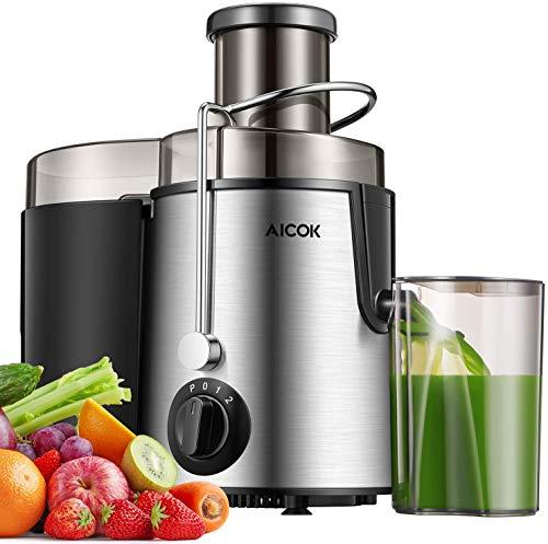 Aicok Licuadoras Para Verduras y Frutas, 3 Velocidades Licuadora Prensado Frio Extractor de Zumo Boca Ancha de 65MM, Extractor de Jugos Libre de BPA, con Base Antideslizante