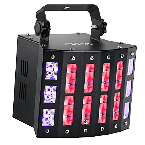 OPPSK DJ Light, 48W 3in1 Multifunction Mixed Effects Stage Lighting, 9 Colors DJ Lights 6LEDs UV Black Lights and Strobe Sound Activated Remote DMX Control for Wedding Birthday Club Bar Dance Party