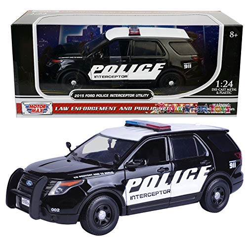 2015 Ford Interceptor Police Car Black/White 1/24 by Motormax 76954