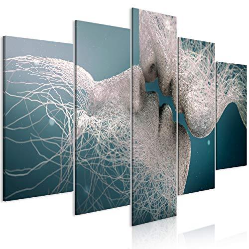 decomonkey Bilder Abstrakt 200x100 cm 5 Teilig Leinwandbilder Bild auf Leinwand Vlies Wandbild Kunstdruck Wanddeko Wand Wohnzimmer Wanddekoration Deko Paar Kuss Liebe