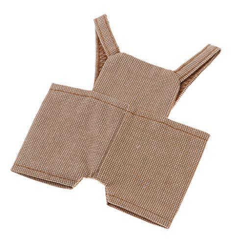 D DOLITY Mini Latzhose Trägerhose Hose Bekleidung für Plüschbär Tiere Puppe Spielanzug Kostüme - Khaki Plaid