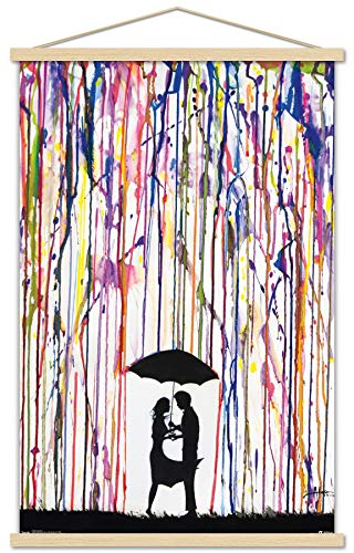 Trends International Crayon Art Wall Poster with Wooden Magnetic Frame, 22.375' x 34', Print and Beechwood Hanger Bundle