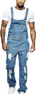 Kewing Tuta da Uomo, Jeans Strappati, Salopette Vintage, Salopette di Jeans, Salopette di Jeans