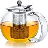 Teabloom Stovetop Safe + Lead-Free Glass Teapot Kettle – 40 oz / 1.2 L Capacity (4-5 CUPS) –...