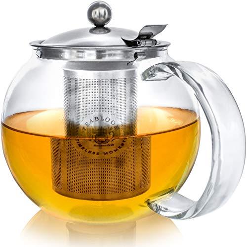 Teabloom Classica Teekanne für jeden Tag - Herdplattensichere Teekanne aus Glas - 1200ml Fassungsvermögen - Herausnehmbares Tee-Ei aus Edelstahl