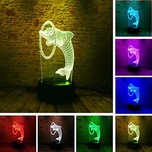 3D-nachtlampje, schattige dolfijn-piercing, 7 kleuren, afstandsbediening, slaapkamer, lamp, hoofddecoratie, kinderkerstcadeau