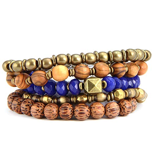 of inblue jewelry designers BeachBu Designer Jewelry The Lightning Bracelet Set in Blue Sapphire - Glass Beads in Blue Sapphire with Olive Wood, Palm Wood, and Brass, Stretch Cord, Set of 5