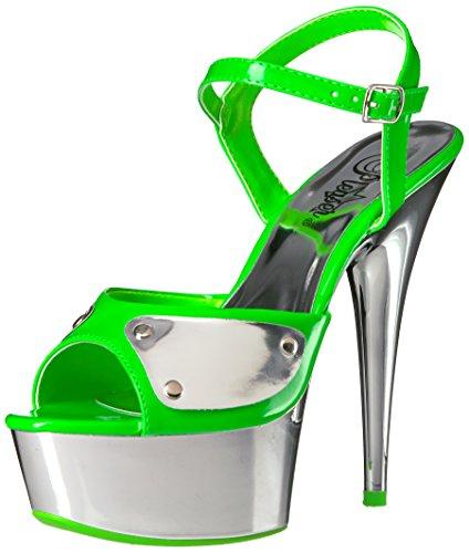 Pleaser Damen Del609nc/Ngn/Sch, Neon Green/SLV Chrome, 38 EU