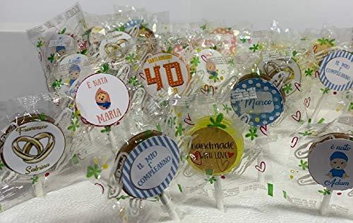 Casa del Dolce Lecca Lecca Personalizzabili per Compleanni,Battesimi,Comunione.Eventi Vari Senza glutine (50)