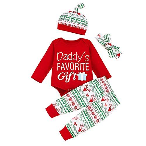 YULAND Babykleidung Set,Weihnachts Brief Druck Langarm Body Strampler+Schottenkaro Hose+Stirnband+Hut,Baby Body Overall Outfit Für Baby Mädchen Junge