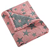 NTBAY 3 Layer Toddler Blanket, Muslin Cotton Jacquard Bed Blankets, Lightweight Thermal Baby Blanket, Super Soft and Warm Crib Blanket for All Seasons, Decoration Gift, 30'x 40', Red and Black Star
