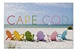 Cape Cod, Massachusetts - Colorful Beach Chairs (Premium 500 Piece Jigsaw Puzzle for Adults, 13x19)