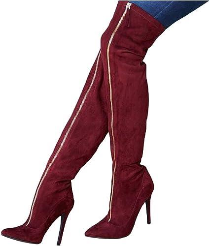 SYYAN Donna più Velluto Appuntito Cerniera Tacco Alto Pompa Stivali Elasticizzati Stivali della Coscia Vino Rosso