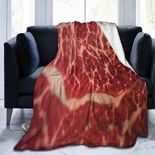 SUHETI Manta de Franela Suave,Rebanadas De Filete Textura Marmoleado Nutrición Japonesa con Carne Wagyu Carne Roja Cruda Texturas Alimentos Carne,Cama de Camping para sofá 127x102cm