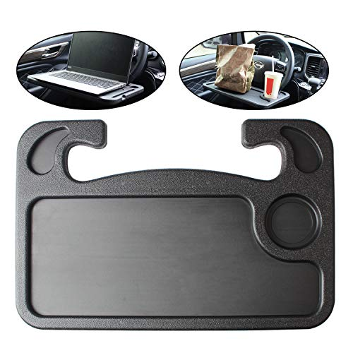 BYGD Car Steering Wheel Desk, Auto Steering Wheel Tray for Computer Food Snack Lunch Drinking, 2in1 Black Eating Table