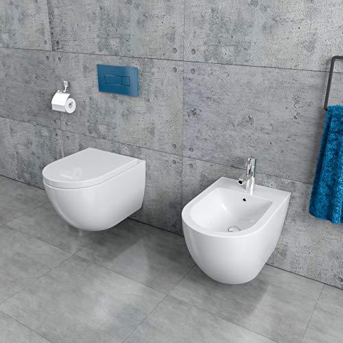 Randloses Design Keramik Wand Hänge WC Toilette + Wand Bidet inkl. WC Sitz aus Duroplast mit Absenkautomatik Randlos Spülrandlos KB76-1-set