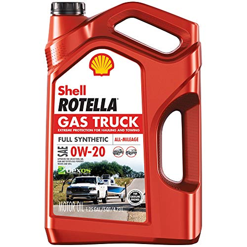 Shell Rotella Gas Truck Full Synthetic 0W-20 Motor Oil for Pickups and SUVs (5-Quart, Pack of 1)