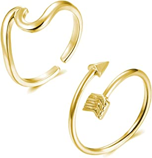 Long tiantian Vsco Ring 4Pcs Wave Arrow Ring Set for Women Silver Knot Ring Adjustable Open Ring Set (F) …