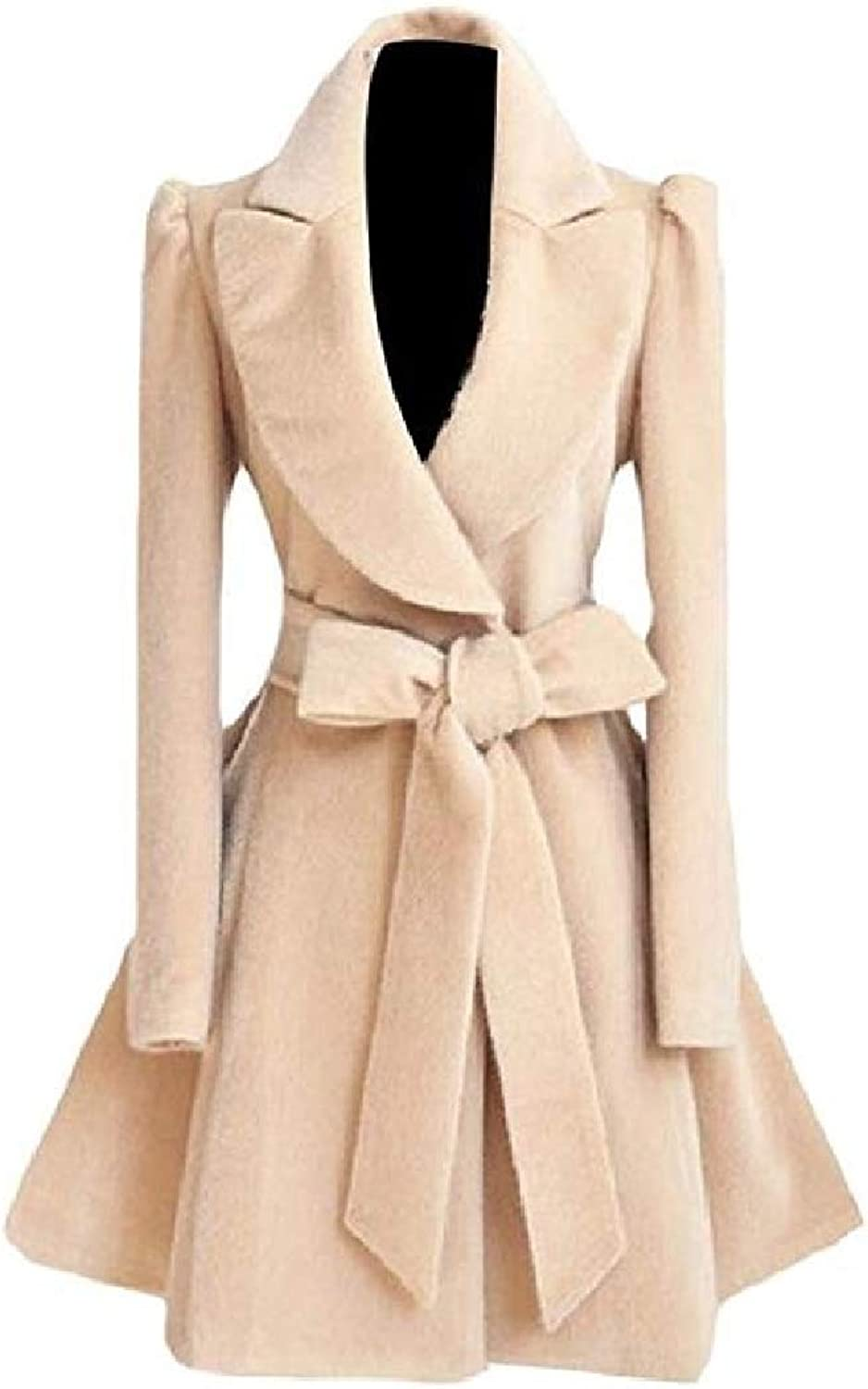 color&W Women's Turn Down Collar Skinny Solid colord with Belt Woolen Coat Overcoat