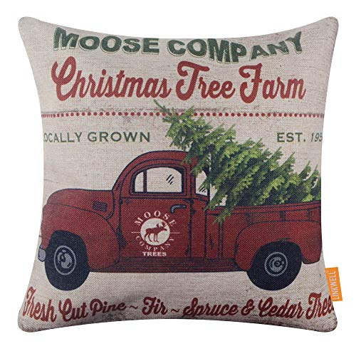 LINKWELL Farmhouse Christmas Truck Pillow Cover 18x18 inch Xmas Tree Decorative Cushion Case for Sofa Bedroom Car Couch CC1751