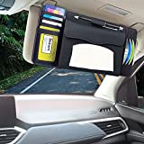 AISUORIC Car Tissue Holder Multifunctional Car Visor Mask Box PU Leather Holder, Card CD Storage Bag, Luxurious Paper Towel Cover Case for Car…