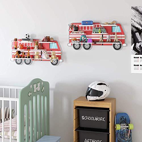 Homfa 2er Set Kinderregal Wandregal Wandboard Bücherregal Hängeregal Kinderzimmer Feuerwehrauto 74.2x11.2x35.8cm