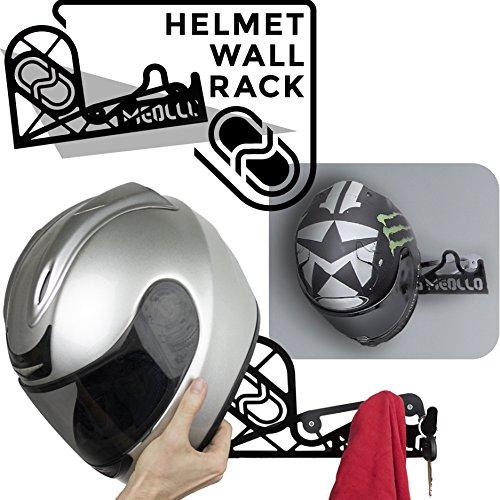 MEOLLO Helmhalter Helm Wandhalterung (100% Stahl) (schwarz)