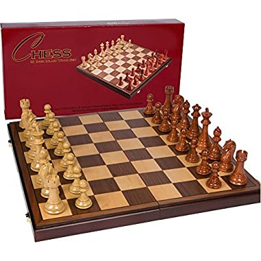 Best Chess Set Abigail Chess Inlaid Wood Folding Board Game with Pieces - 21 Inch Set